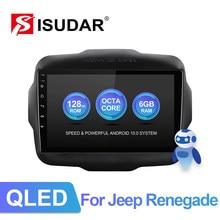 Isudar v72 qled android rádio do carro para jeep renegado 2014 2015 2016 2017 2018 gps carro multimídia ram 6g rom 128g câmera não 2din