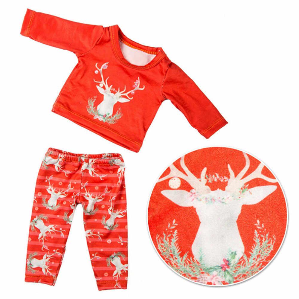 Linda camisa muñecas accesorios ropa de Navidad pantalones camisa para muñeco para niño y niña 18 pulgadas accesorio niños juguete regalo