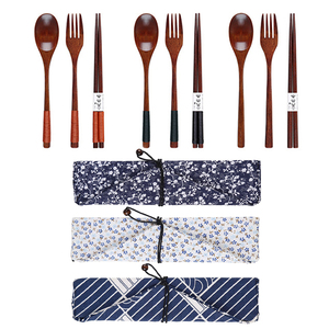 Spoon Fork 3/4Pcs Chopsticks Portable Tableware Wooden Cutlery Sets Travel Dinnerware Suit Environmental with Cloth Pack Gift