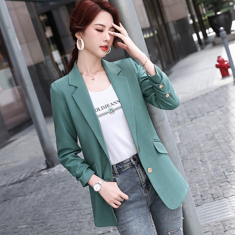 Autumn and winter women's jacket small suit 2020 new high quality loose ladies mid-length jacket Solid color Female Blazer