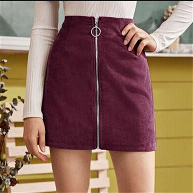 Fashion Women Sexy Corduroy Mini Bodycon Skirts For Women Preppy Style Ladies Zipper Pencil Skirts Female Sold High Waist Skirt