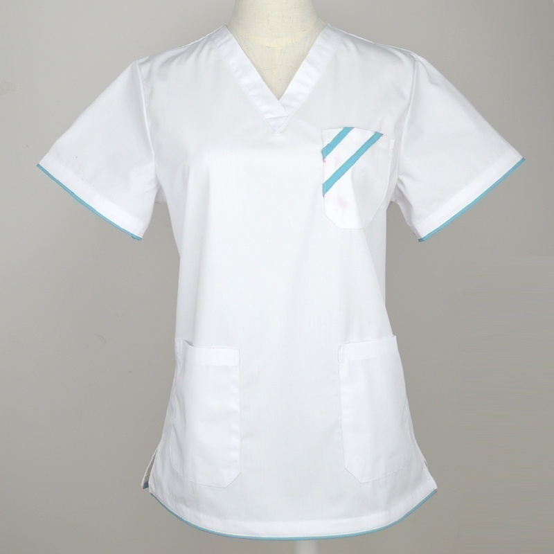 Plug Size S-4XL Women Fashion Scrub TOP Short Sleeve Medical Uniforms Nurse White Workwear Enfermeria V Neck Shirt Mock Wrap