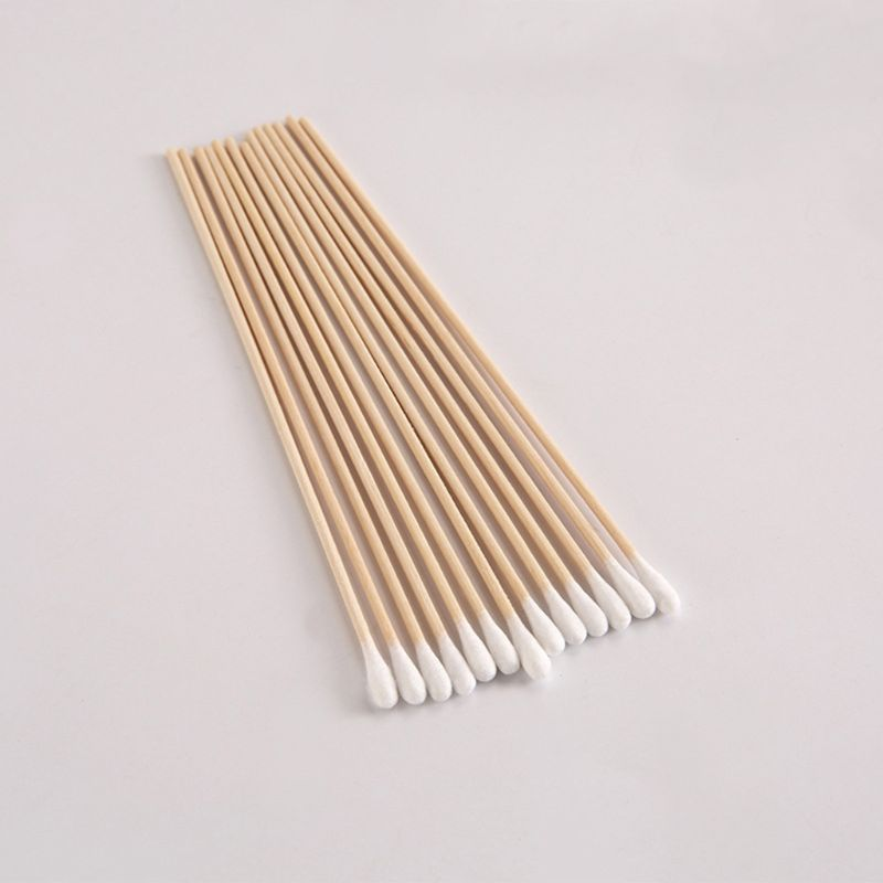 200Pcs/Bag 15CM Long Wooden Handle Cotton Swab Single-Head Q-Tips Ear Nose Cleaning Sterile Sticks Makeup Applicator Remove Tool