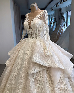 Image 3 - New Arrivals Luxury Beaded Lace Ball Gown Wedding Dresses 2020 New Design Long Sleeve Tiered Wedding Gowns Vestido De Noiva