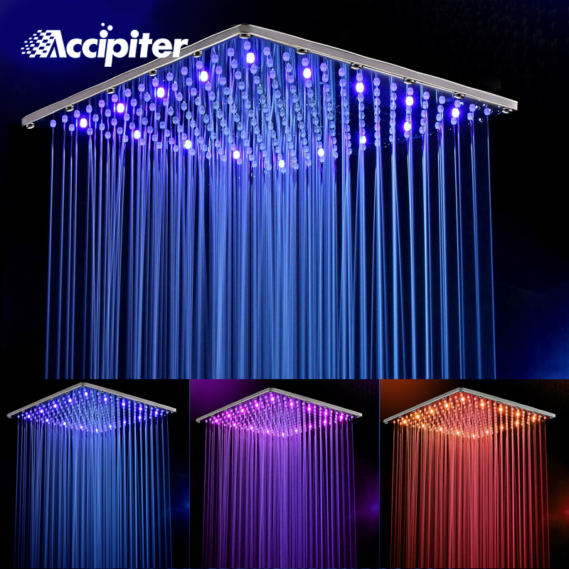 16 Inch Water Powered Stainless Steel Square Rain Led Shower Head Bathroom 3 Colors Led Showerhead Chuveiro