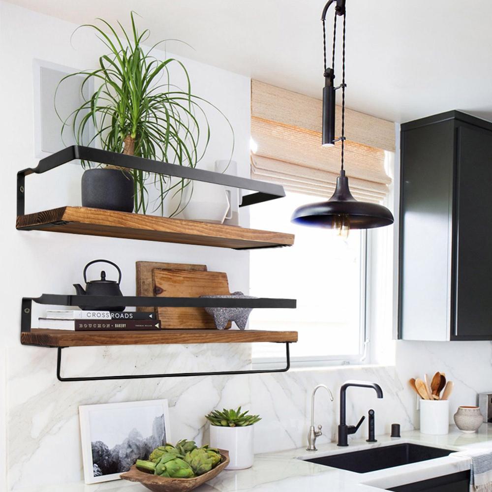 Wall Shelf Wood Floating Shelf Wall Decoration Multifunction Storage Holder Wall Shelf Rack Decorative For Kitchen/ Bedroom
