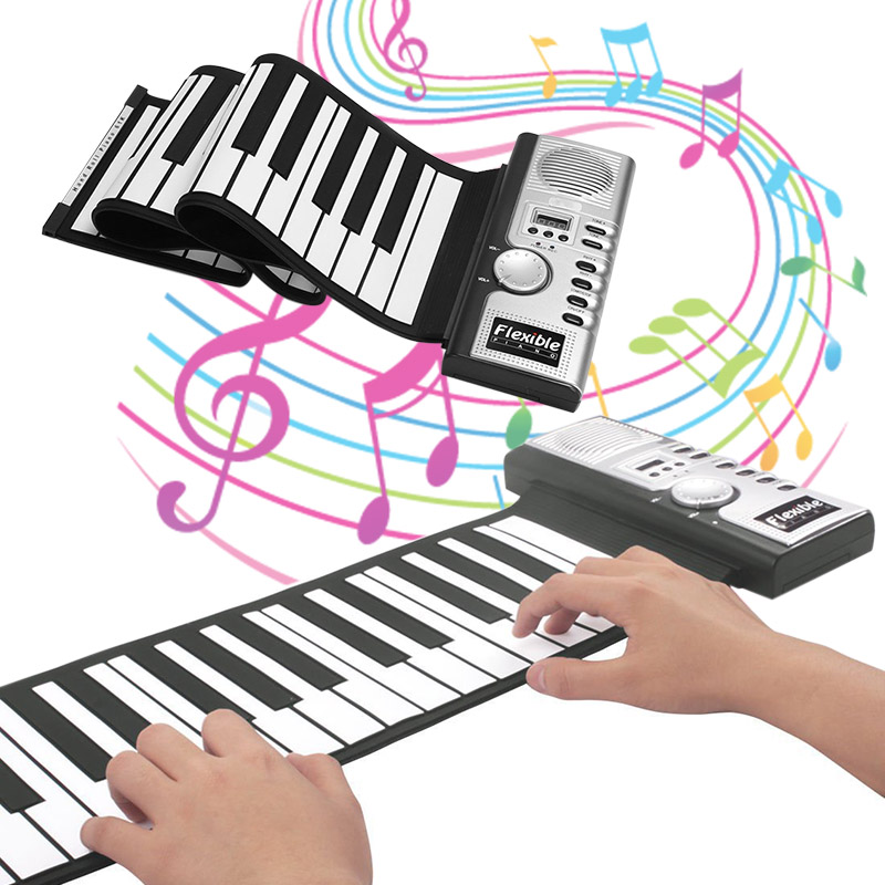 Portable Flexible Digital Keyboard Piano 61 Keys 128 Tones Rhythms Electronic Roll Up Piano Toys SEC88