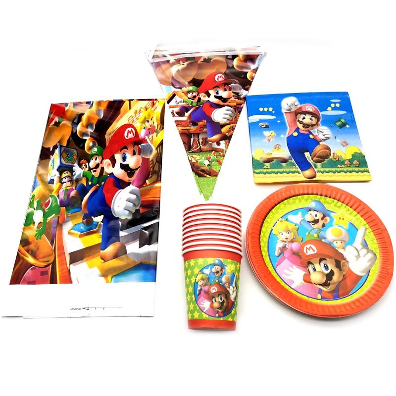 Счастливый День рождения украшения Марио тема скатерть тарелки чашки висит баннер набор посуды Детские душевые салфетки флаги 82 шт