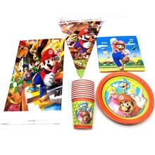 Happy Birthday Party Decoration Mario tema tovaglia piatti tazze appeso Banner stoviglie Set Baby Shower tovaglioli bandiere 82 pz