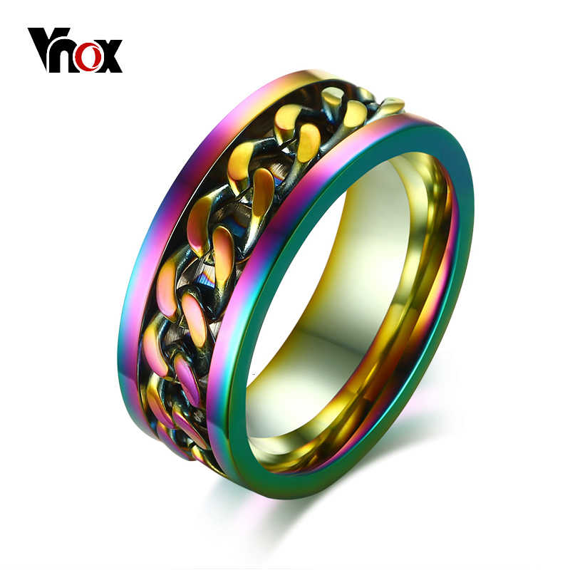 Vnox Stylish 8mm Flexible Rotatable Chain Ring For Men Stainless