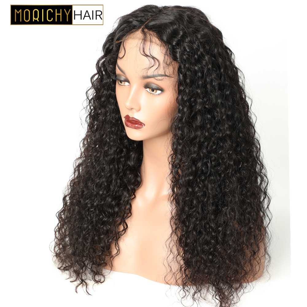 Morichy Deep Curly 4x4 Lace Closure Wigs With Baby Hair Brazilian Non-Remy Water Lace Wig For Women Natural Black Human Hair Wig