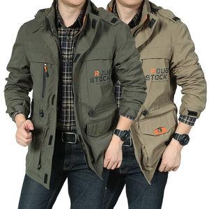 Image 1 - Nowa kurtka Bomber mężczyźni jesień zima multi pocket wodoodporna kurtka taktyczna wojskowa czapka wiatrówka mężczyzna płaszcz odkryty z kapturem