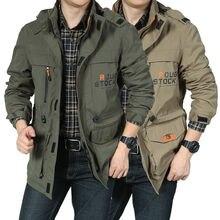Yeni bombacı ceket erkekler sonbahar kış çok cep su geçirmez askeri taktik ceketler kap rüzgarlık erkek ceket açık kapşonlu