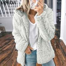VONDA Women Faux Fur Hooded Coats Jackets 2020 Autumn Winter Coat Zipper Long Sleeve Thicken Fleece Cardigan Overcoat Plus Size