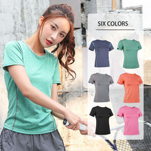 Summer Yoga Short Sleeve Shirts Women Quick Dry T-Shirts Round Collar Workout Fitness Clothing Breathable Running Gym Suit Mujer