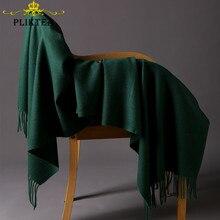 Мериносовая шерсть авокадо зеленый женский шарф Высокое Качество Толстая шаль зимнее пончо женский сплошной цвет кашемир хиджаб шарф Пашмина