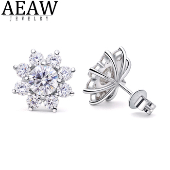 1.0ctw 5.0mm Round Excellent Cut DF Color VVS1 Moissanite Earring Flower Earring Real 18K White gold Stud Push Back