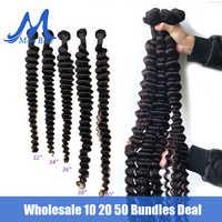 Extensiones de pelo ondulado brasileño, 10, 20 y 50 mechones de cabello humano rizado de 100%, extensión Remy de 30, 32, 38 y 40 pulgadas, venta al por mayor