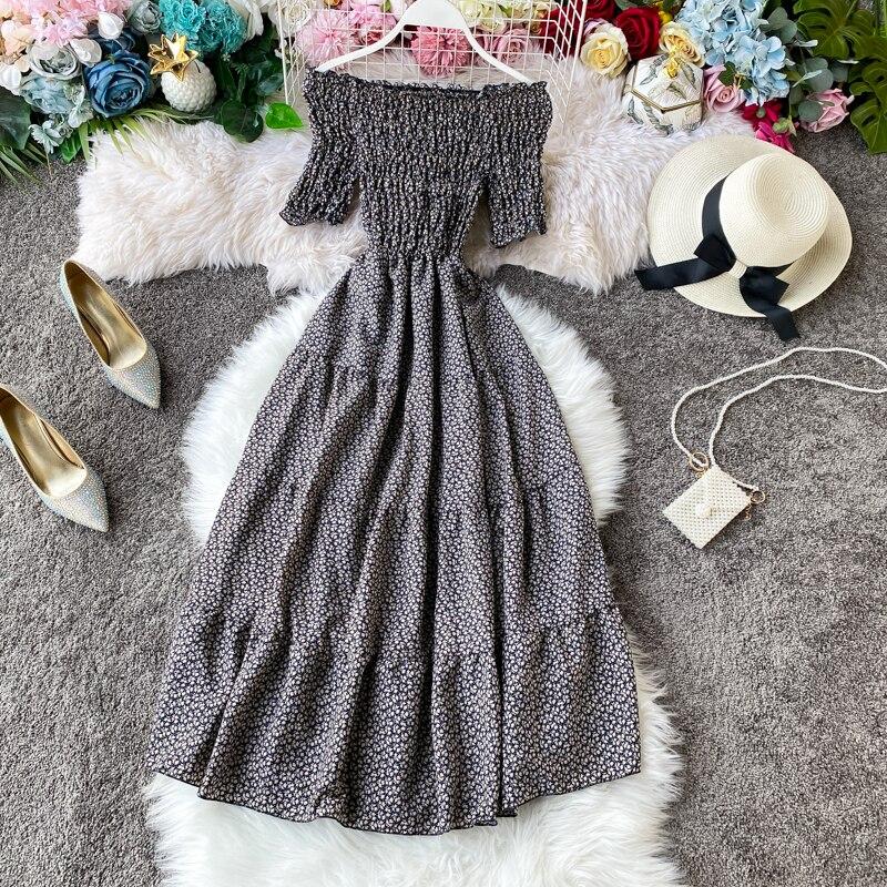Элегантное богемное женское платье с принтом, сексуальное, с открытыми плечами, Vestidos, с высокой талией, а-силуэт, 2020, летние платья с коротким...