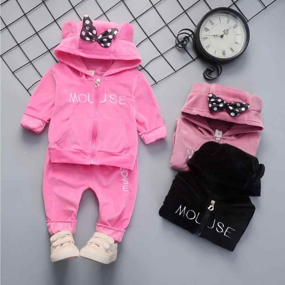 US Baby Girl Hoodies Outfits Set Rabbit Ears Hooded Tops+Pants Clothes For 0-4Y