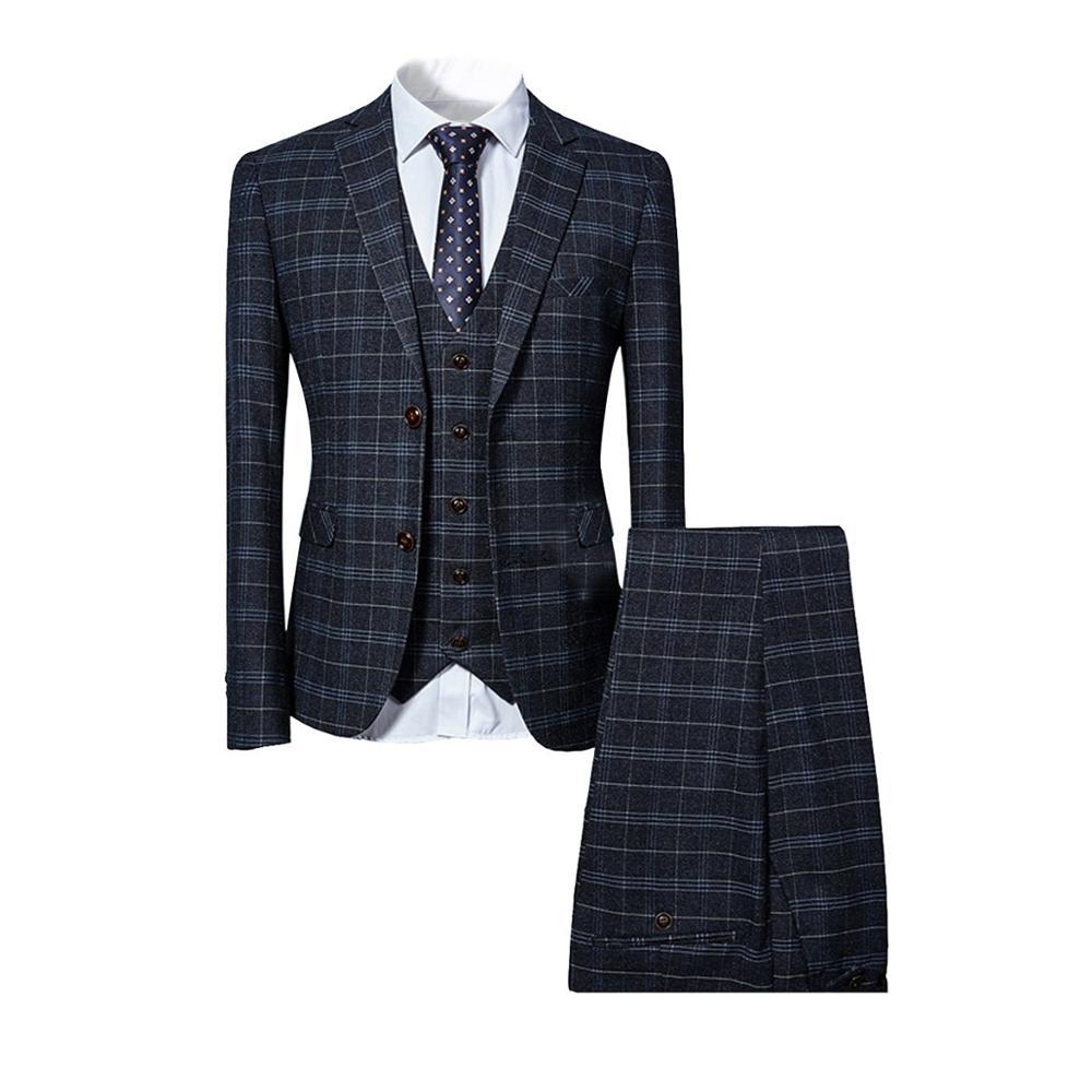 Traje clásico de 3 piezas traje de hombre de negocios fiesta de bodas del novio Casual Blazer Delgado - 4