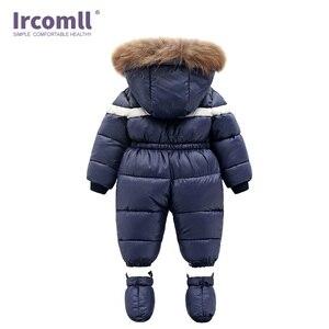 Image 3 - חדש רוסיה חורף תינוקות תינוק ילד הילדה Romper לעבות תינוק חליפת שלג Windproof חם סרבל לילדים בגדים לפעוטות תלבושת