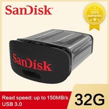 サンディスクウルトラフィット Usb フラッシュドライブミニペンドライブメモリスティック USB フラッシュ 32 グラム 64 グラム 128 グラムサポート公式検証 CZ43