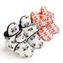 Модная теплая обувь для маленьких мальчиков с мультяшным принтом