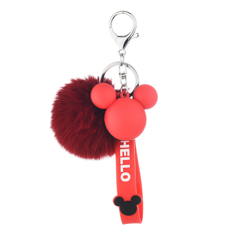 Cartoon Mickey Head Doll Keychain Bag Charm Pendant Car POM POM Key Chains Christmas Gift for Womans Porte Clef image