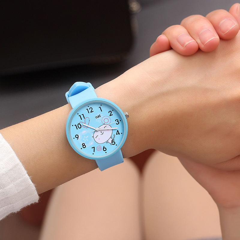 Dropshipping Silicone Baby Watch Girls Student Clock Fashion Children Dress Quartz Wristwatches Cute Cat Pattern Boy Kids Watch