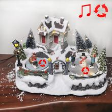 Village-House 2-Rolling-Figurines Christmas Led-Light Scene with And Music Battery-Operated