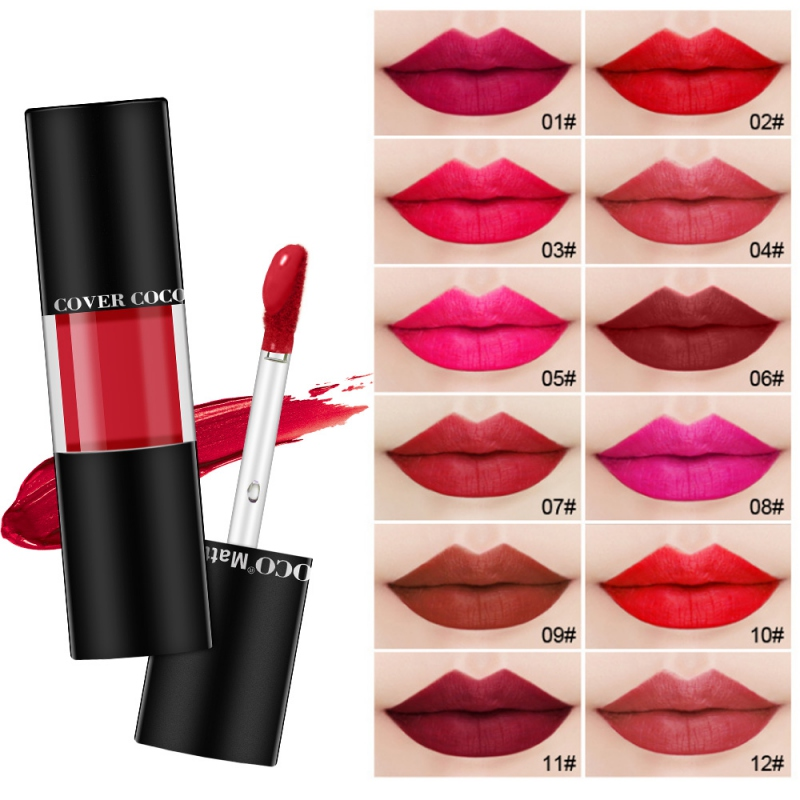 12 couleurs 24 pièces mat rouge à lèvres ensemble étanche longue durée brillant à lèvres Nude Rd velours Pigment anti-adhésif tasse beauté lèvres Kits de maquillage
