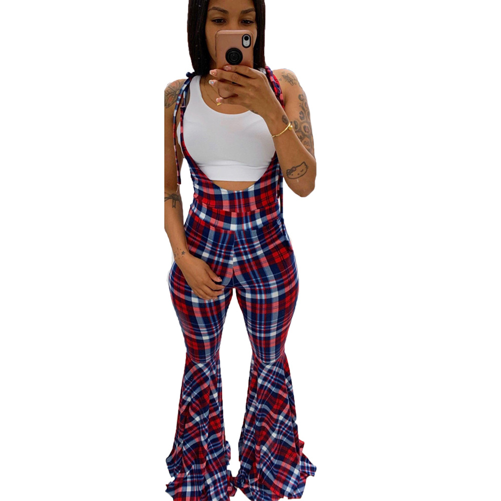 Adogirl Plaid Jumpsuit