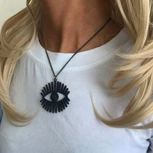Large Cubic Zircon Devil Eyes Pendant Necklaces Black Evil Eye Charm Jewelry