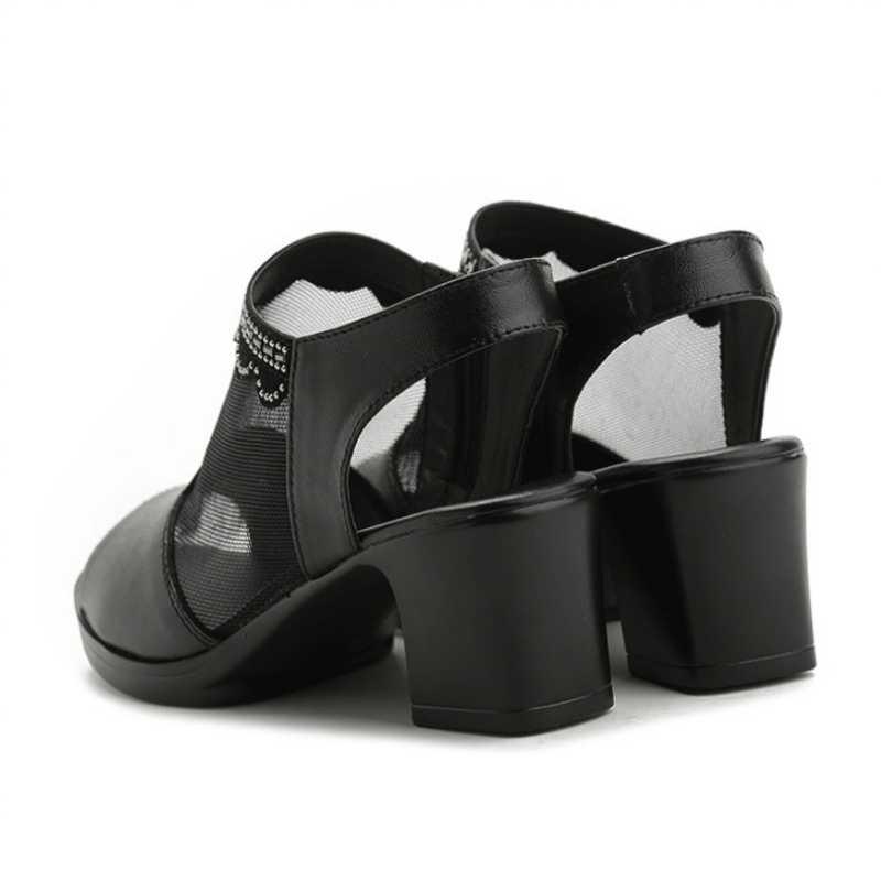 夏 2019 Med ヒールグラディエーターサンダル女性厚いヒールクリスタルメッシュピープトウサンダル快適な黒 Sandalias プラスサイズ