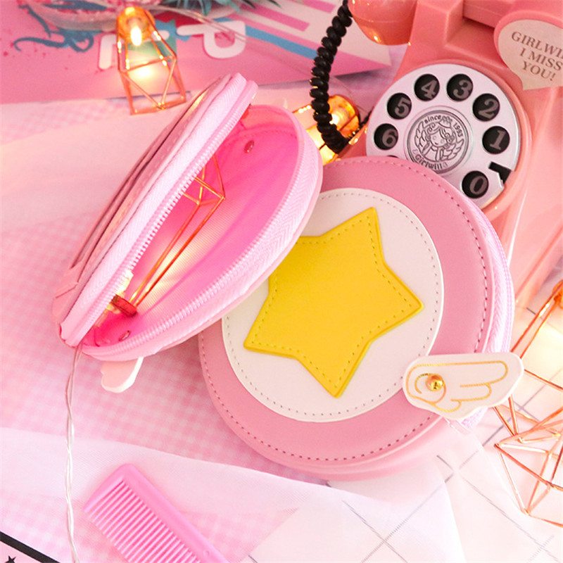Card Captor Sakura Wallet Woman Cute Wings Coin Purse Sakura Kinomoto Purse Girls Circular Small Money Bag Key Ring Change Pouch