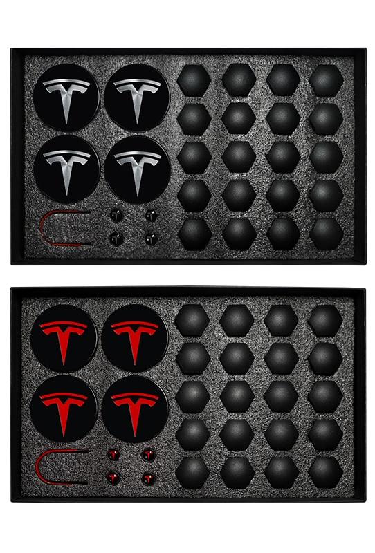 29pcs For Tesla Model 3 S X Wheel Center Caps Hub Cover Screw Cap Kit Decorative Tires Car Modification Accessories Emblem Badge