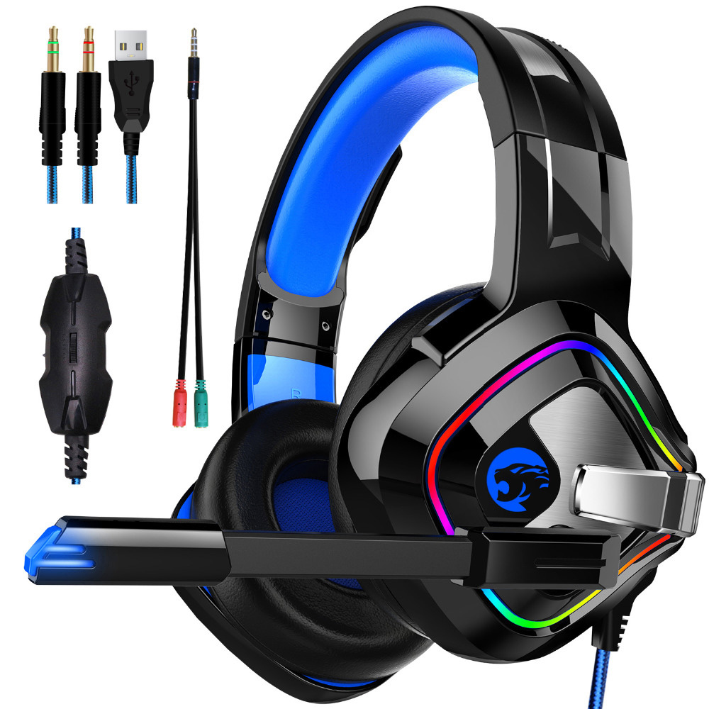 A66 Headphones <font><b>Gaming</b></font> PS4 4D Stereo RGB Marquee Light <font><b>Earphones</b></font> Headset <font><b>with</b></font> <font><b>Microphone</b></font> for New Xbox One/PC Computer Gamer image