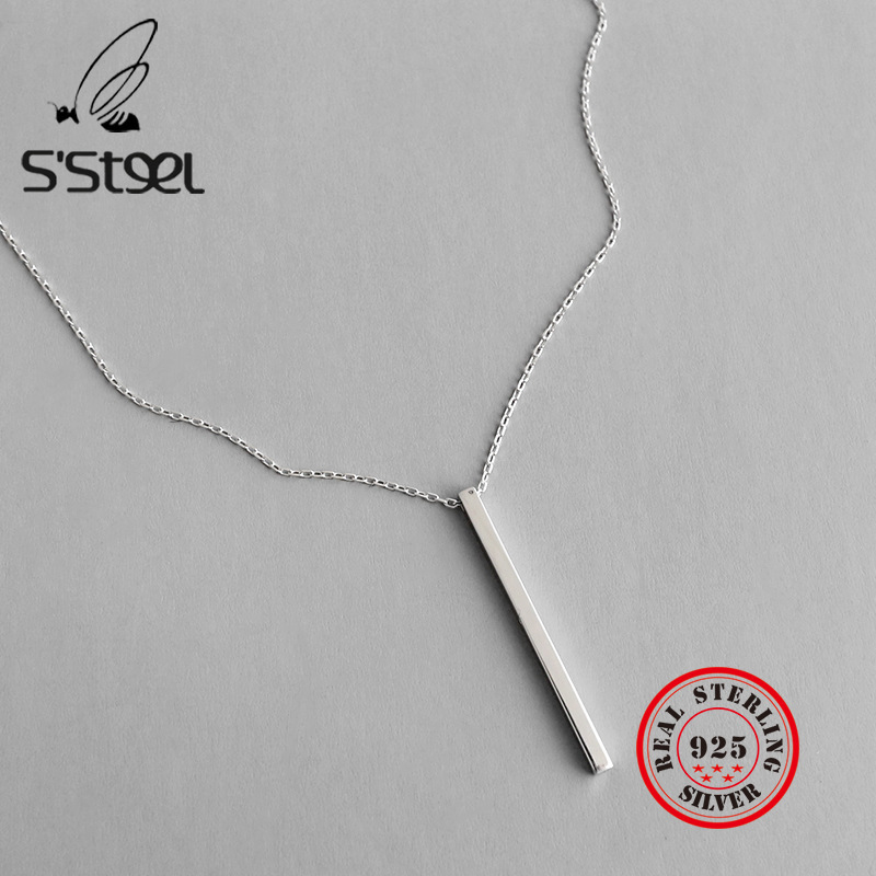 S'STEEL Minimalist 925 Sterling Silver Necklace Geometry Pendant Gifts For Women Bijoux Femme Gumus Kolye Collane Donna Jewelry