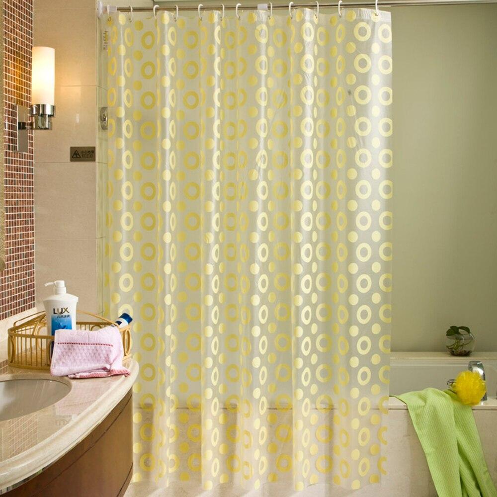 >EHOMEBUY New Yellow Circle Pattern Shower Curtain <font><b>Waterproof</b></font> <font><b>Mildewproof</b></font> Translucent PEVA Curtain For Bathroom Shower Room