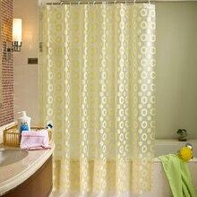 EHOMEBUY2019 New Yellow Circle Pattern Shower Curtain Waterproof Mildewproof Translucent PEVA For Bathroom Room