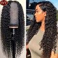 SVT 360/13x4 кружева передние парики из натуральных волос глубокая волна парик для Для женщин предварительно вырезанные натуральный Цвет бразил...