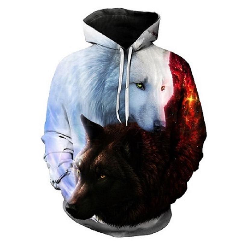 Men's 3d Hoodie Wolf Print Hoodie Boy Jacket Sweatshirt Quality Pullover Fashion Sportswear Animal Street Costume Jacket
