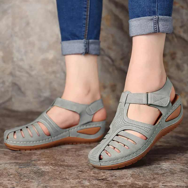 Yaz kadın sandalet ayakkabı bayanlar rahat ayak bileği Hollow yuvarlak ayak sandalet yumuşak taban ayakkabı moda Sandalias Mujer 2020