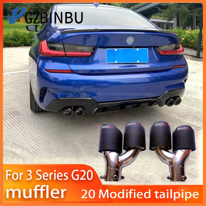 for bmw 3 series g20 muffler 330i silencer exhaust pipe g28 tail pipes carbon fiber refit double out m sports