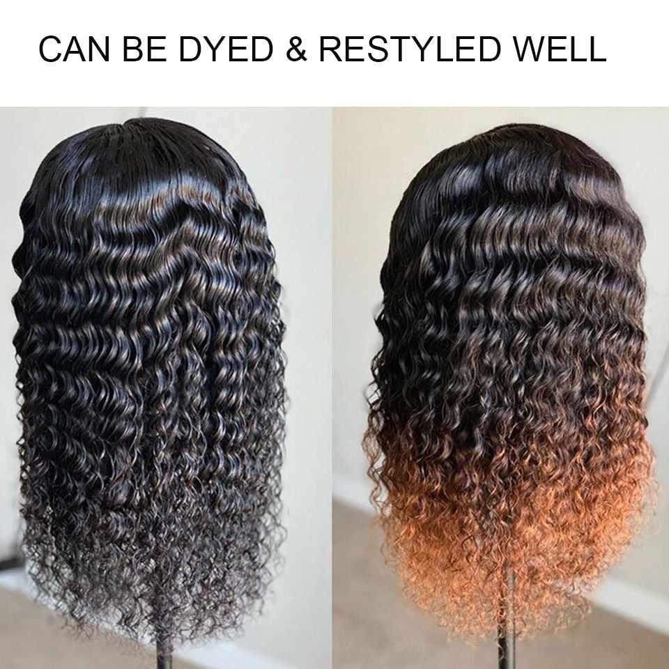 Karizma 4X4 парик на шнурке с глубоким волнистым париком, парики на фронте из человеческих волос, парики на шнурках для черных женщин, 150 плотность, бразильские волосы Remy