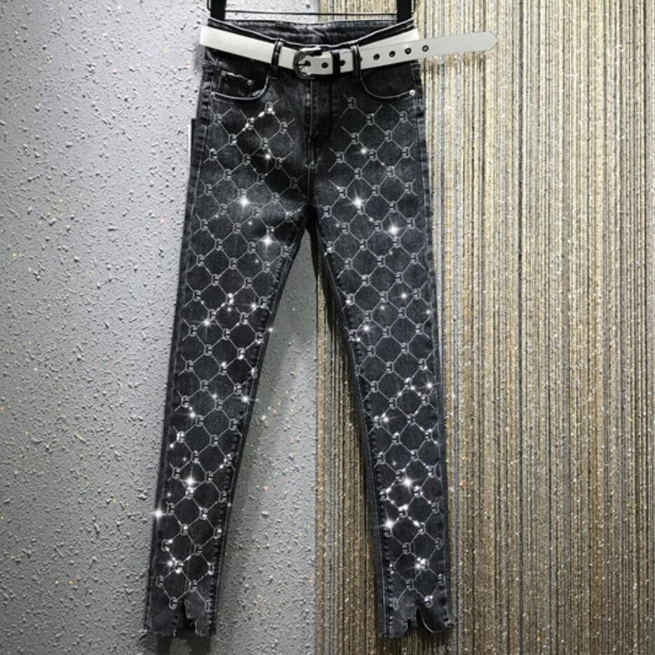 2020 Spring New Fashion High Waist Stretch Jeans Women Hot Rhinestone Feet Skinny Pencil Jeans