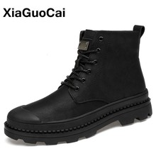 цены 2020 Autumn Winter Men Military Army Boots Big Size Warm Plush Male Shoes High Top Outdoor Lace Up Black Ankle Boots New Arrival