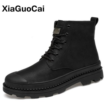 2020 Autumn Winter Men Military Army Boots Big Size Warm Plush Male Shoes High Top Outdoor Lace Up Black Ankle Boots New Arrival nt00022 4 men s winter fashionable plush lining warm martin ankle boots black pair size 43