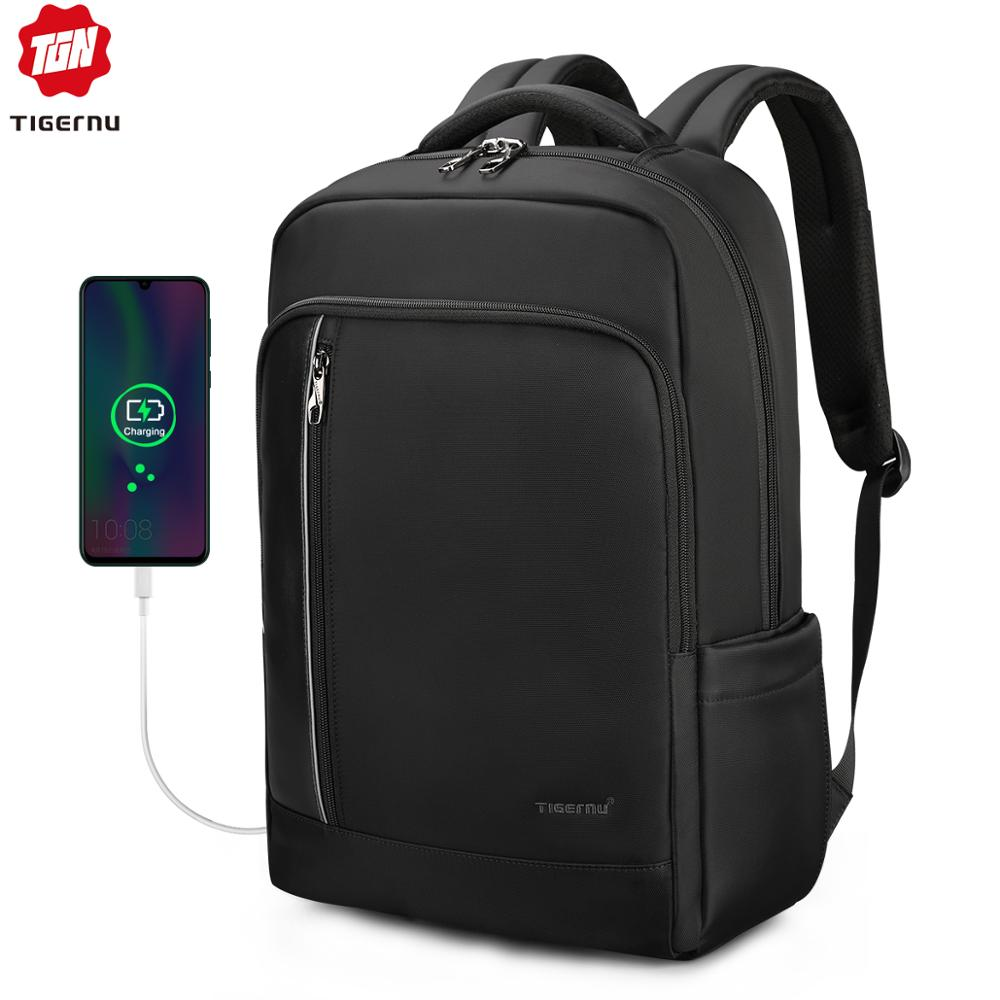 Tigernu Brand High Quality Water Repellent Nylon Men 15.6 Inch Laptop Backpack Black&Purple Anti Theft Business Travel Schoolbag
